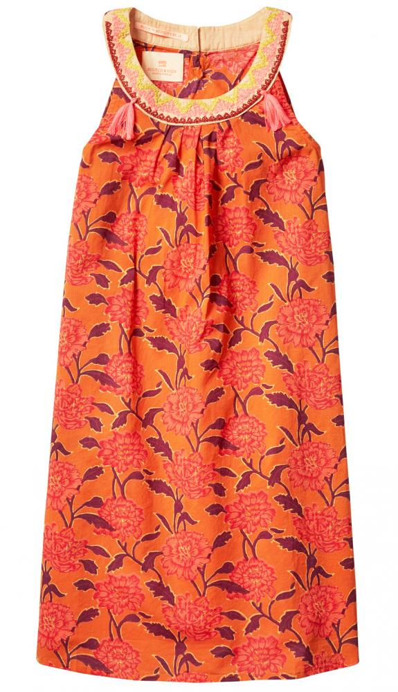 scotch r belle kleid allover print orange flower scotch. Black Bedroom Furniture Sets. Home Design Ideas