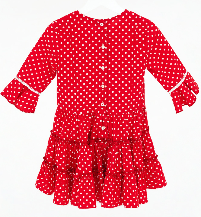 mim pi kleid mit wei en punkten und r schenrock in rot. Black Bedroom Furniture Sets. Home Design Ideas