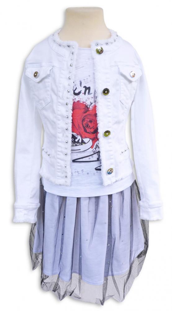 077b721c9d35 ELSY Girl Sommer Jeansjacke RAPID in white mit Perlen & Fransensaum ...