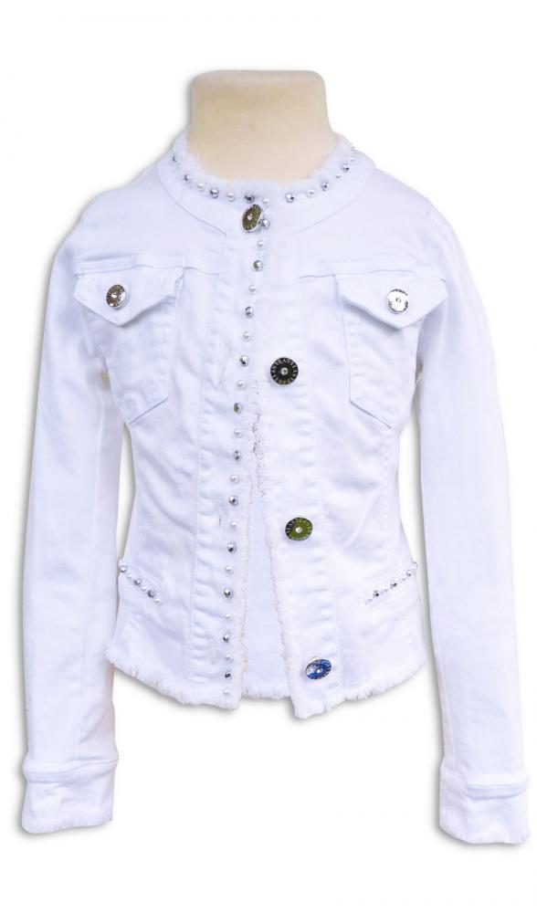 Elsy girl sommer jeansjacke rapid in white mit perlen - Jeansjacke perlen ...
