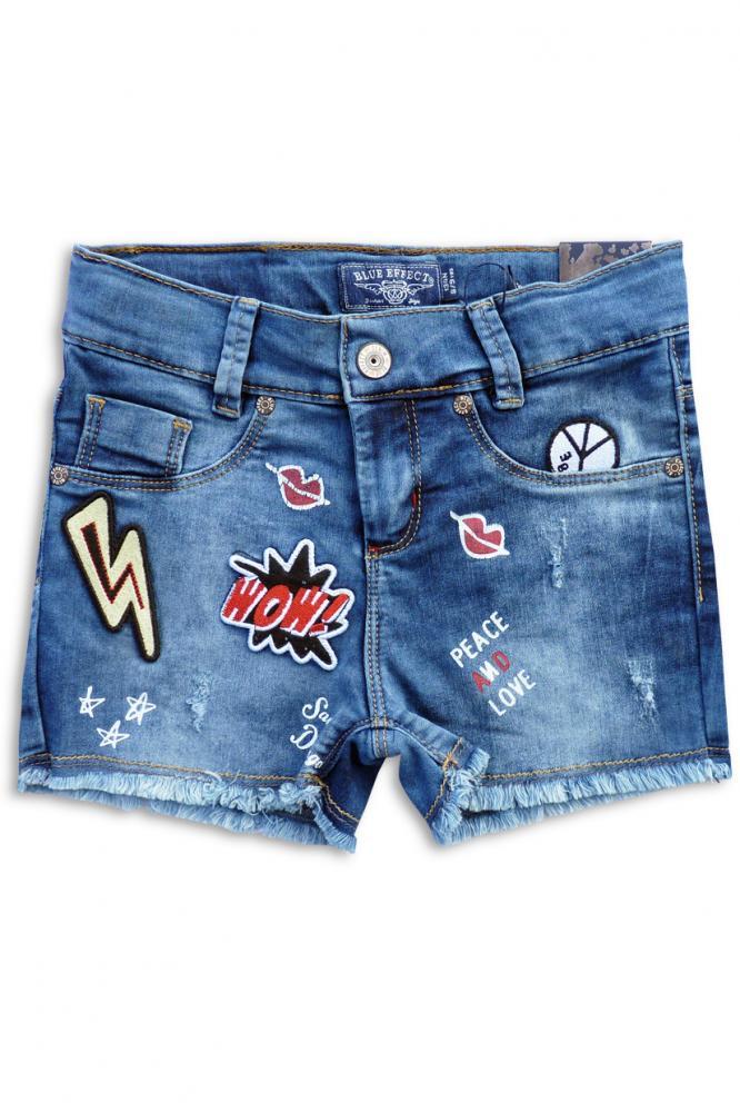 blue effect coole jeans shorts mit fransen und patches. Black Bedroom Furniture Sets. Home Design Ideas