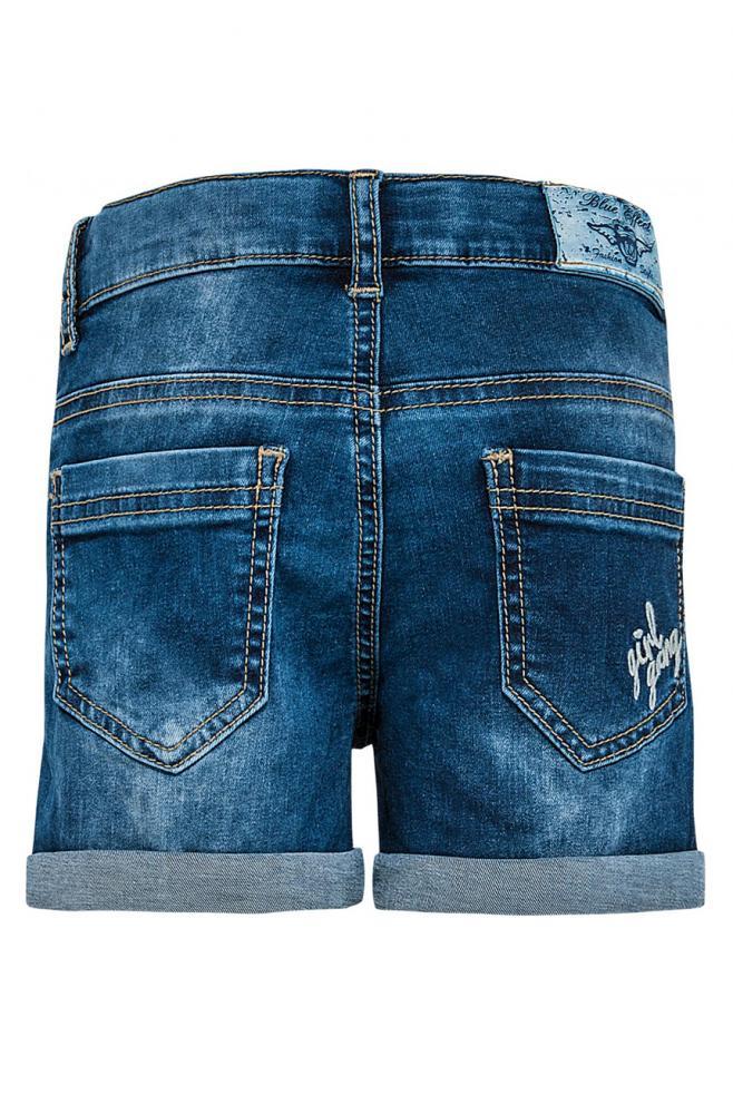 blue effect jeans short mit patches und prints in blue denim blue effect cinderella kindermoden. Black Bedroom Furniture Sets. Home Design Ideas