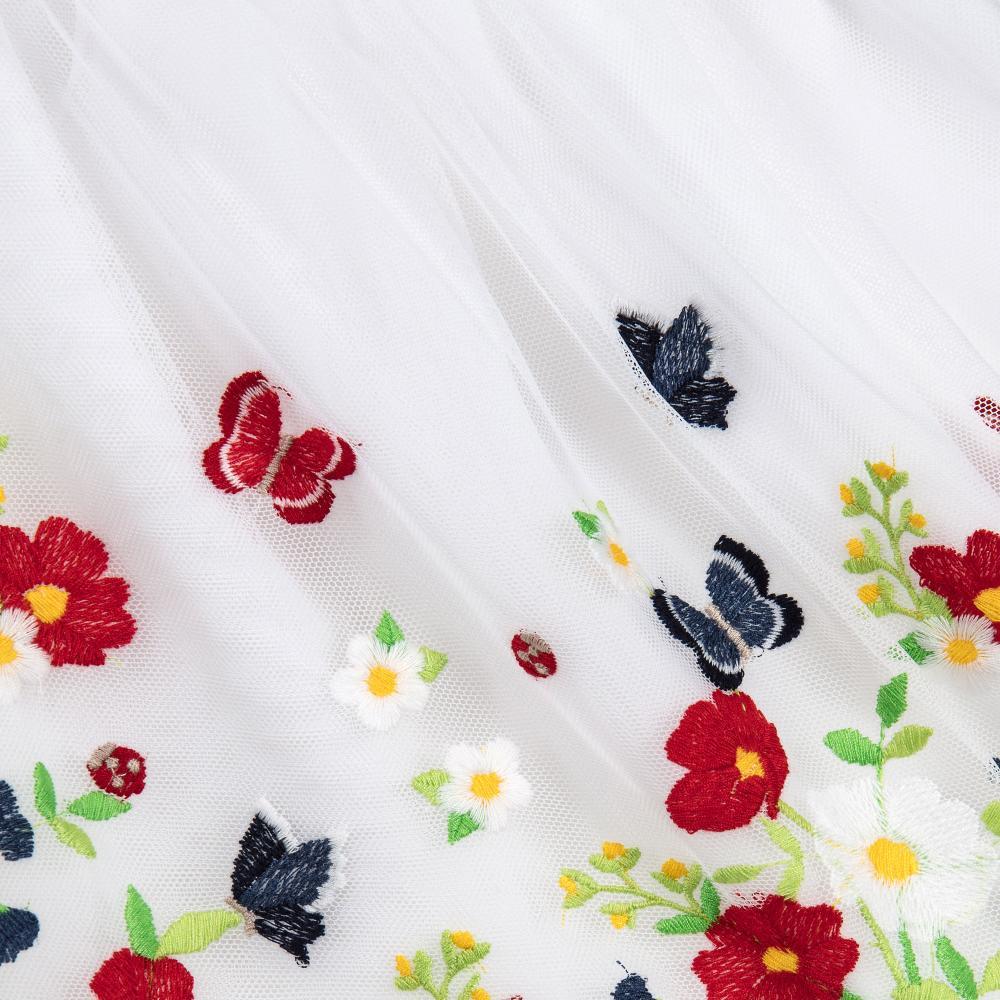 mayoral baby wei es t ll kleid mit bunter blumen stickerei. Black Bedroom Furniture Sets. Home Design Ideas