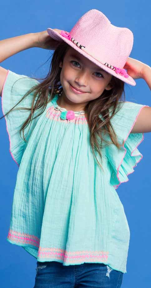 ba544f8ebfa9b5 Mim-Pi Tunika in mint grün mit bunter Stickerei Hippie Look   Mim-Pi    Cinderella Kindermoden
